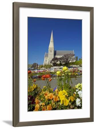 Flowers and St. Luke's Anglican Church, Oamaru, North Otago, South Island, New Zealand-David Wall-Framed Photographic Print
