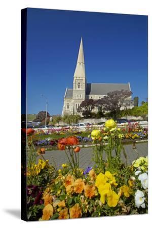 Flowers and St. Luke's Anglican Church, Oamaru, North Otago, South Island, New Zealand-David Wall-Stretched Canvas Print