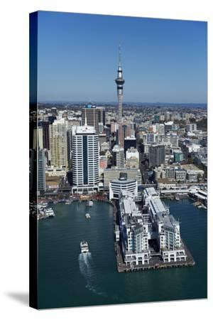 Sky Tower and Auckland Waterfront, Auckland, North Island, New Zealand-David Wall-Stretched Canvas Print