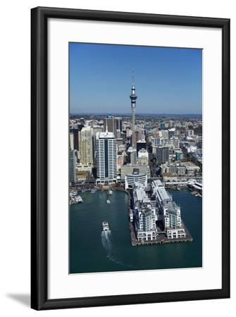 Sky Tower and Auckland Waterfront, Auckland, North Island, New Zealand-David Wall-Framed Photographic Print