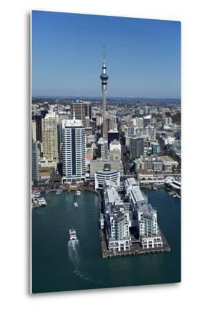 Sky Tower and Auckland Waterfront, Auckland, North Island, New Zealand-David Wall-Metal Print