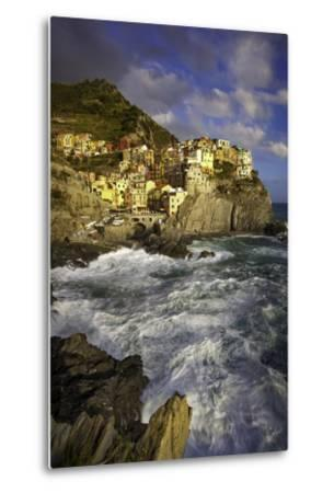Swirling Ocean at the Foot of Medieval Town of Manarola in the Cinque Terre, Liguria Italy-Brian Jannsen-Metal Print