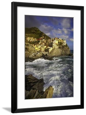 Swirling Ocean at the Foot of Medieval Town of Manarola in the Cinque Terre, Liguria Italy-Brian Jannsen-Framed Photographic Print
