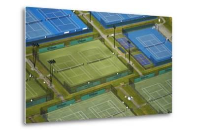 Tennis Courts, Albany, Auckland, North Island, New Zealand-David Wall-Metal Print