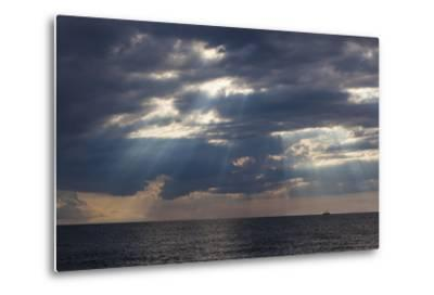 A Fishing Trawler under Storm Clouds at Duck Harbor Beach in Wellfleet, Massachusetts. Cape Cod-Jerry and Marcy Monkman-Metal Print