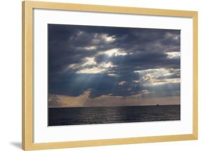 A Fishing Trawler under Storm Clouds at Duck Harbor Beach in Wellfleet, Massachusetts. Cape Cod-Jerry and Marcy Monkman-Framed Photographic Print
