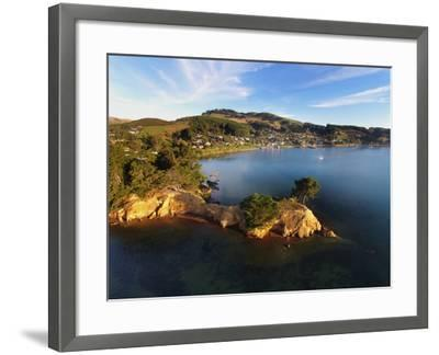 Yellow Point, Broad Bay and Otago Peninsula, Dunedin, South Island, New Zealand-David Wall-Framed Photographic Print