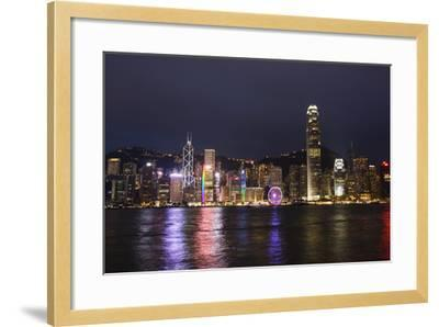 Hong Kong, China. Skyline Harbor with New Ferris Wheel and Reflections , Background-Bill Bachmann-Framed Photographic Print