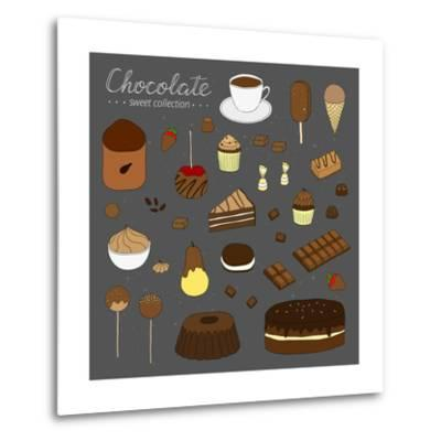 Hand Drawn Chocolate Products Isolated on Chalkboard. Cocoa, Chocolate Cake, Cupcake, Bundt, Ice Cr-Minur-Metal Print