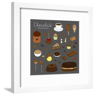 Hand Drawn Chocolate Products Isolated on Chalkboard. Cocoa, Chocolate Cake, Cupcake, Bundt, Ice Cr-Minur-Framed Art Print