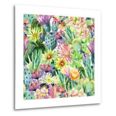 Exotic Cacti with Flowers Pattern - Succulents-tanycya-Metal Print