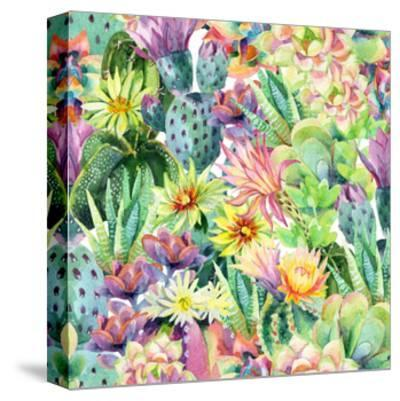 Exotic Cacti with Flowers Pattern - Succulents-tanycya-Stretched Canvas Print