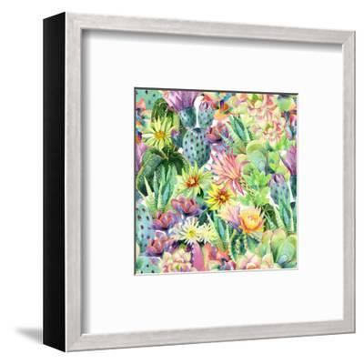 Exotic Cacti with Flowers Pattern - Succulents-tanycya-Framed Art Print