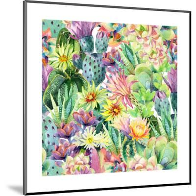 Exotic Cacti with Flowers Pattern - Succulents-tanycya-Mounted Art Print