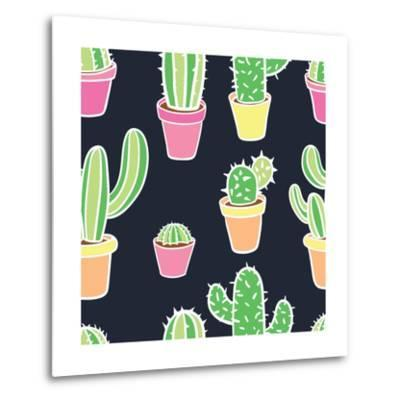 Seamless Pattern with Cactus. Pattern of Cactus. Cacti in Pots. Vector Background. Cute Cartoon Cac-Asya Bikmaeva-Metal Print