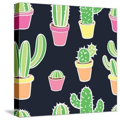 Seamless Pattern with Cactus. Pattern of Cactus. Cacti in Pots. Vector Background. Cute Cartoon Cac-Asya Bikmaeva-Stretched Canvas Print