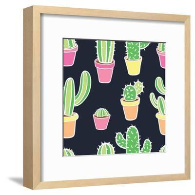 Seamless Pattern with Cactus. Pattern of Cactus. Cacti in Pots. Vector Background. Cute Cartoon Cac-Asya Bikmaeva-Framed Art Print
