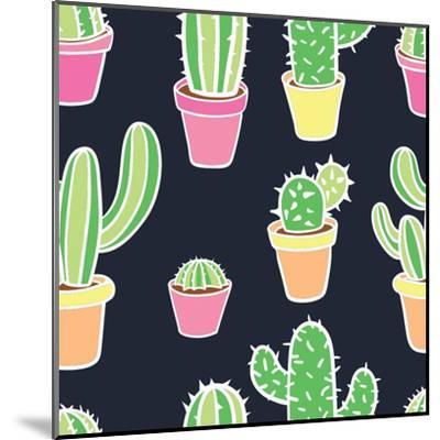 Seamless Pattern with Cactus. Pattern of Cactus. Cacti in Pots. Vector Background. Cute Cartoon Cac-Asya Bikmaeva-Mounted Art Print