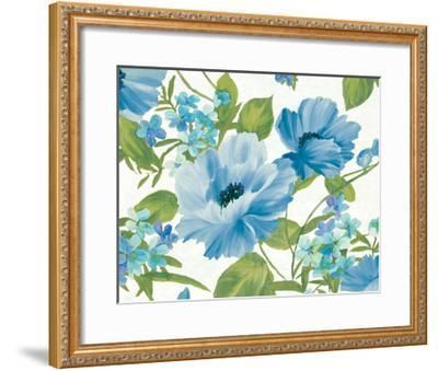 Summer Poppies Blue Crop-Wild Apple Portfolio-Framed Art Print