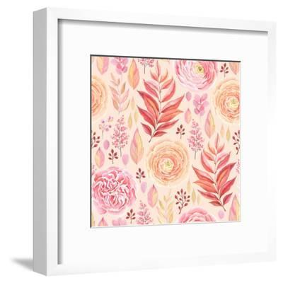 Seamless Pattern of English Rose, Ranunculus, Colorful Branches and Leaves Pink, Red, Yellow and Or-Nikiparonak-Framed Art Print