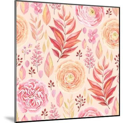 Seamless Pattern of English Rose, Ranunculus, Colorful Branches and Leaves Pink, Red, Yellow and Or-Nikiparonak-Mounted Art Print