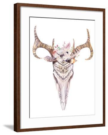 Bohemian Deer Skull - Western Mammal Watercolor-Kris_art-Framed Art Print