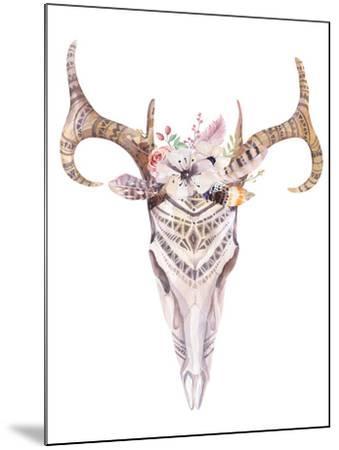 Bohemian Deer Skull - Western Mammal Watercolor-Kris_art-Mounted Art Print