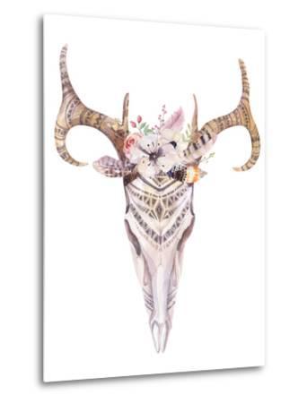 Bohemian Deer Skull - Western Mammal Watercolor-Kris_art-Metal Print