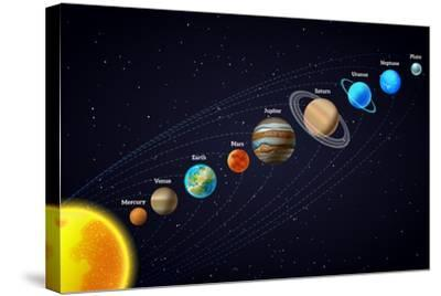 Solar System Astronomy Banner-Macrovector-Stretched Canvas Print