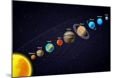 Solar System Astronomy Banner-Macrovector-Mounted Art Print