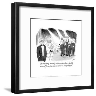 """It's touching, actually, to see white dudes fumble around for a few last ?"" - Cartoon-Tom Toro-Framed Premium Giclee Print"