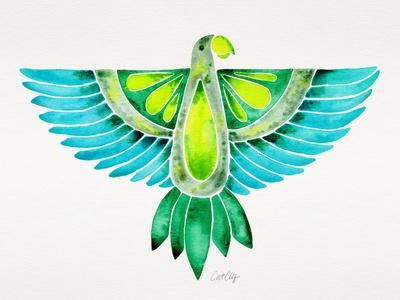 Blue and Green Parrot-Cat Coquillette-Stretched Canvas Print