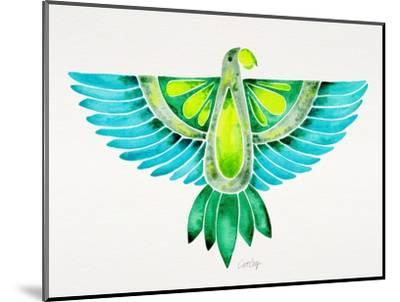Blue and Green Parrot-Cat Coquillette-Mounted Giclee Print