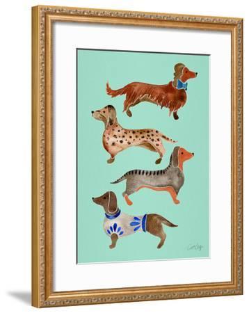 Blue Dachshunds-Cat Coquillette-Framed Giclee Print