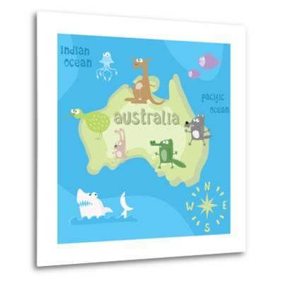 Concept Design Map of Australian Continent with Animals Drawing in Funny Cartoon Style for Kids And-Dunhill-Metal Print