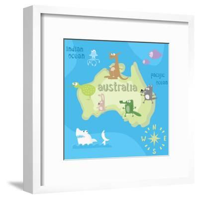 Concept Design Map of Australian Continent with Animals Drawing in Funny Cartoon Style for Kids And-Dunhill-Framed Art Print