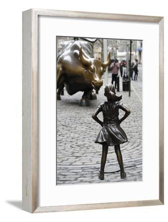 Fearless Girl Wall Street--Framed Premium Photographic Print