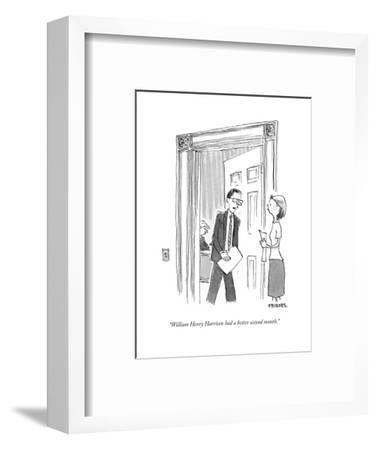"""William Henry Harrison had a better second month."" - Cartoon-Pat Byrnes-Framed Premium Giclee Print"