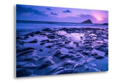 Blur Water Effect Ocean at Sunset, Pink and Blue-Marcin Jucha-Metal Print