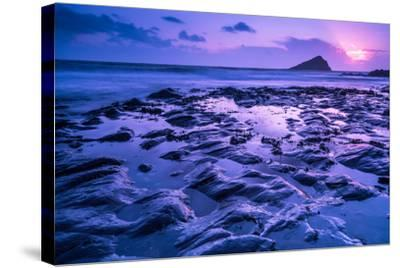 Blur Water Effect Ocean at Sunset, Pink and Blue-Marcin Jucha-Stretched Canvas Print