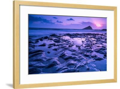 Blur Water Effect Ocean at Sunset, Pink and Blue-Marcin Jucha-Framed Photographic Print