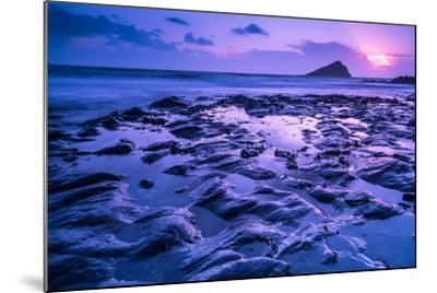 Blur Water Effect Ocean at Sunset, Pink and Blue-Marcin Jucha-Mounted Photographic Print