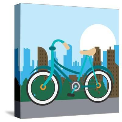 Bike City and Healthy Lifestyle Design- Jemastock-Stretched Canvas Print