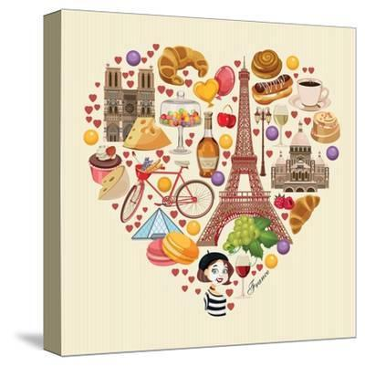 Bonjour Paris. Paris Je Taime - Text in French. Hello Paris. Paris, I Love You!-Tatsiana Tsyhanova-Stretched Canvas Print