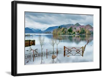 A Scenic Landscape View of Derwentwater, Winter with a Flooded Field and Gate-Julian Eales-Framed Photographic Print