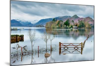 A Scenic Landscape View of Derwentwater, Winter with a Flooded Field and Gate-Julian Eales-Mounted Photographic Print