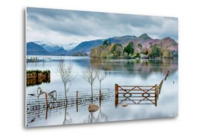 A Scenic Landscape View of Derwentwater, Winter with a Flooded Field and Gate-Julian Eales-Metal Print
