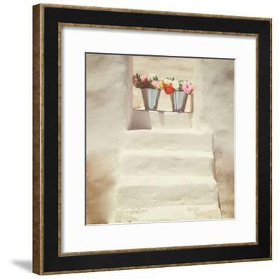 A Staircase of a Greek, White House with Two Bunches of Flowers-Joana Kruse-Framed Photographic Print