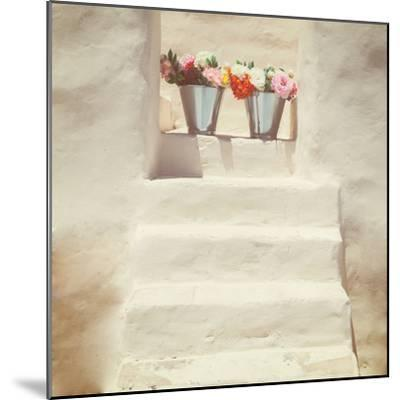 A Staircase of a Greek, White House with Two Bunches of Flowers-Joana Kruse-Mounted Photographic Print
