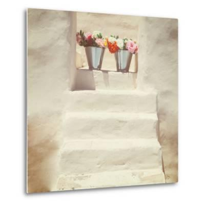 A Staircase of a Greek, White House with Two Bunches of Flowers-Joana Kruse-Metal Print